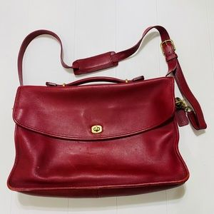 Red Leather vintage Bag/Briefcase